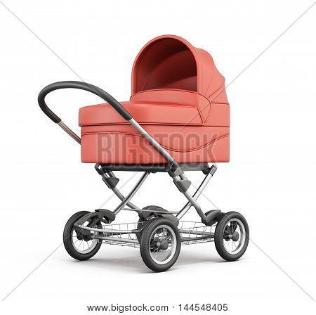 Red Baby Stroller. For Boy. 3D Rendering.
