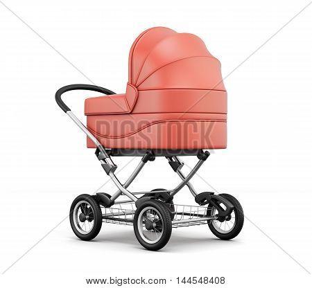 Retro Baby Stroller.  For Boy. 3D Rendering.
