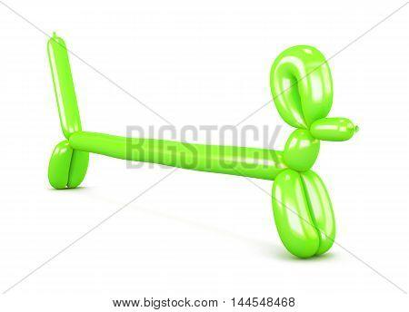 Green Balloon Dog. Figurine Dachshunds. 3D Rendering.