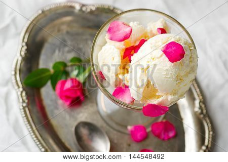 homemade rose ice cream. style vintage. selective focus