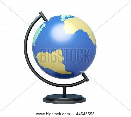 Globe On Stand Isolated On White Background. 3D Rendering