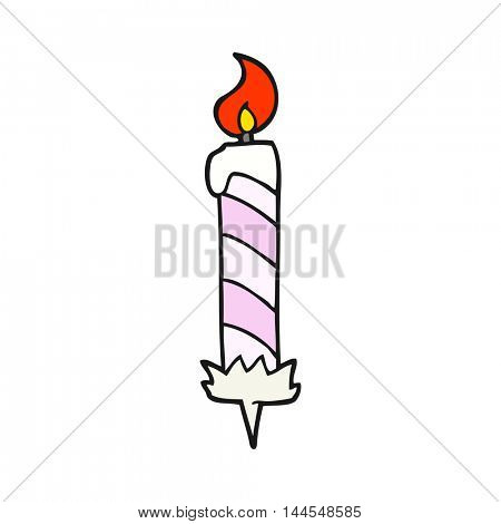freehand drawn cartoon birthday cake candle