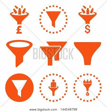 Sales Funnel vector icons. Pictogram style is orange flat icons with rounded angles on a white background.