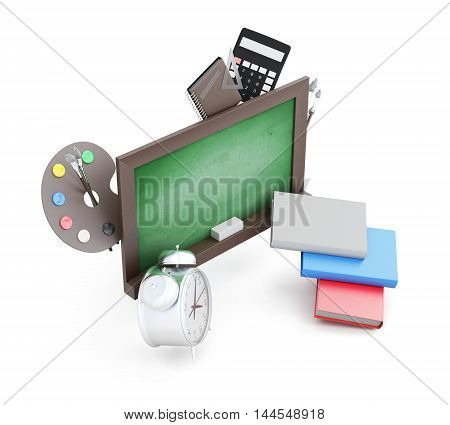Green Boards And School Accessories Isolated On A White Background. 3D Render Image