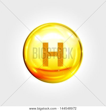 Vitamin H gold icon. Biotin vitamin drop pill capsule. Shining golden essence droplet. Beauty treatment nutrition skin care design. Vector illustration.