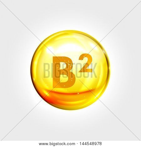 Vitamin B2 gold icon. Riboflavin vitamin drop pill capsule. Shining golden essence droplet. Beauty treatment nutrition skin care design. Vector illustration.