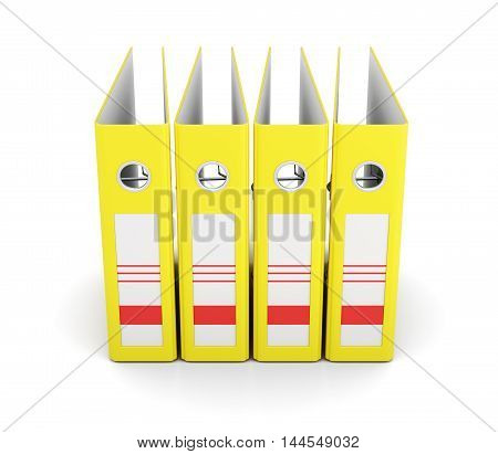 Yellow Office Folder, Front View. Ring Binders. 3D Rendering