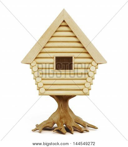 Fabulous Cabin On A Stump Isolated On A White Background. 3D Rendering