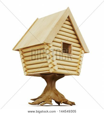 Fabulous Hut On A Stump Isolated On A White Background. 3D Rendering