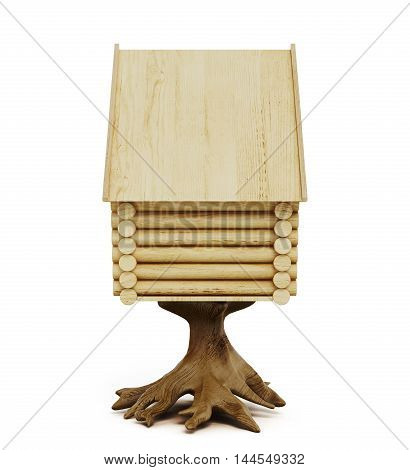 Wooden Fairy Hut Isolated On A White Background. 3D Rendering