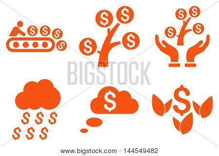 Success Startup vector icons. Pictogram style is orange flat icons with rounded angles on a white background.