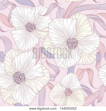 Floral Seamless Pattern. Flower Background. Petal Tile Ornamental Texture With Flowers. Spring Flour