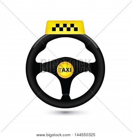 Taxi Car Sign. Car Wheell Icon. Vector