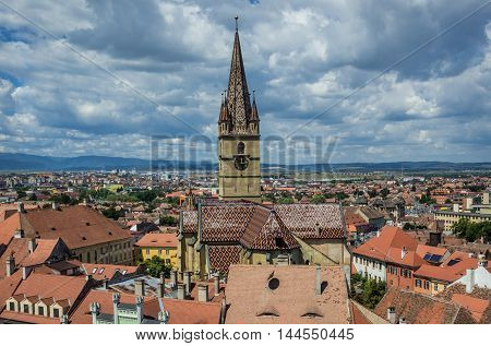Saint Mary Lutheran Cathedral in Sibiu city in Romania. View from Council Tower