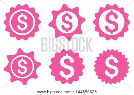 Bank Seal vector icons. Pictogram style is pink flat icons with rounded angles on a white background.