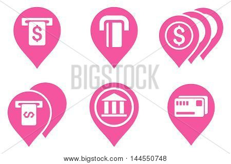 Banking ATM Pointers vector icons. Pictogram style is pink flat icons with rounded angles on a white background.