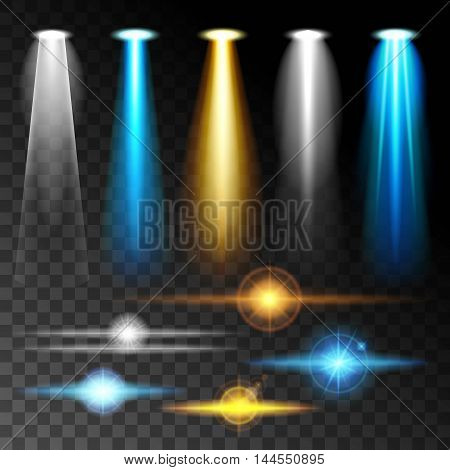 Set realistic light shine bright blue glare of lamps a set of various shapes and projections on a dark background. Abstract vector illustration.