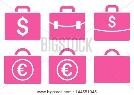 Business Case vector icons. Pictogram style is pink flat icons with rounded angles on a white background.