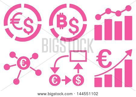 Business Charts vector icons. Pictogram style is pink flat icons with rounded angles on a white background.