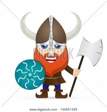 Viking red beard glance armor shield axe