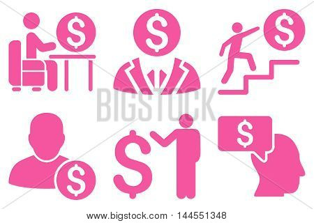 Businessman vector icons. Pictogram style is pink flat icons with rounded angles on a white background.