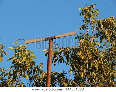 TV antenna mast on the pole for communication