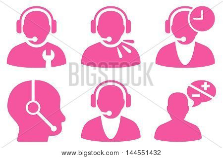 Call Center Operator vector icons. Pictogram style is pink flat icons with rounded angles on a white background.