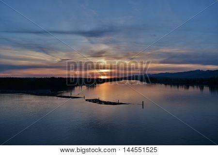 Fraser River Sunset, Surrey, British Columbia, Canada