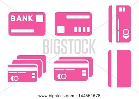 Credit Cards vector icons. Pictogram style is pink flat icons with rounded angles on a white background.