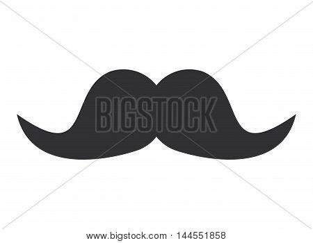 flat design thick retro mustache icon vector illustration