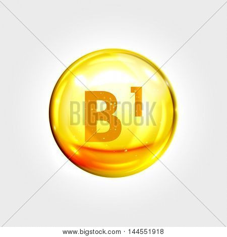 Vitamin B1 gold icon. Thiamine (thiamin) vitamin drop pill capsule. Shining golden essence droplet. Beauty treatment nutrition skin care design. Vector illustration.