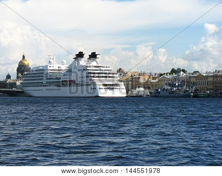 Passenger ship on the Neva. Cruise liner. Neva river. View of Saint Petersburg. Saint Petersburg, Russia.