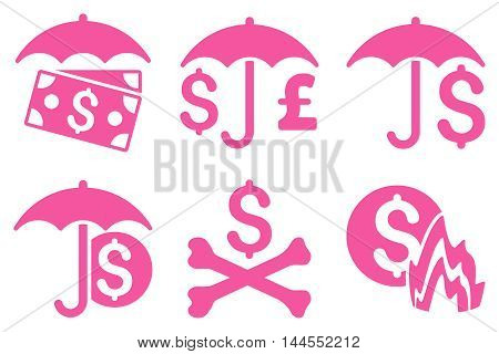 Financial Umbrella vector icons. Pictogram style is pink flat icons with rounded angles on a white background.
