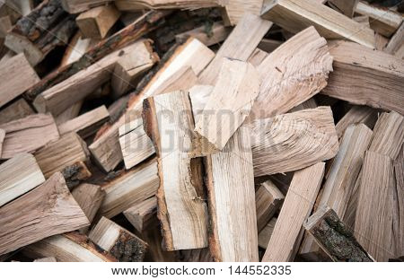 with a bunch of chopped firewood energy  material