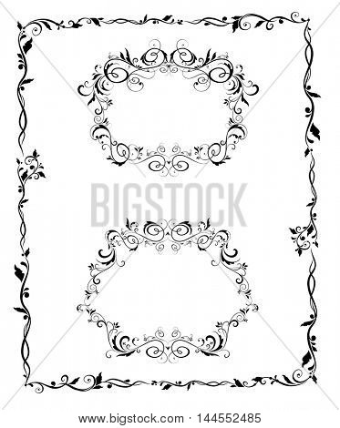 Vintage floral black frames and border