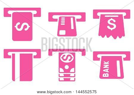 Pay Box vector icons. Pictogram style is pink flat icons with rounded angles on a white background.