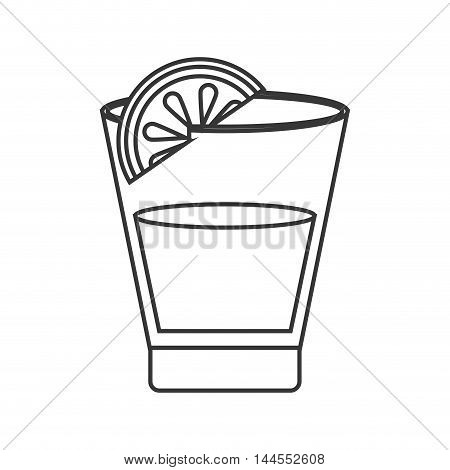 flat design tequila shot and lime icon vector illustration