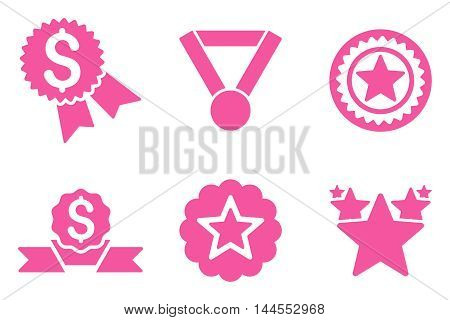 Reward vector icons. Pictogram style is pink flat icons with rounded angles on a white background.