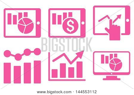 Sales Charts vector icons. Pictogram style is pink flat icons with rounded angles on a white background.