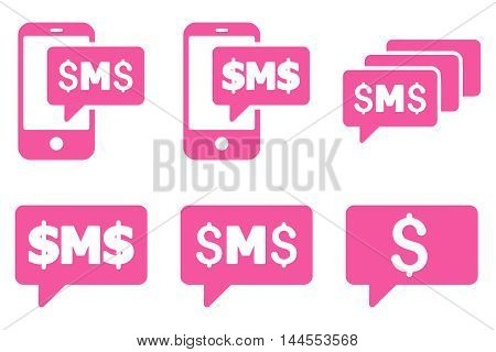 SMS Messages vector icons. Pictogram style is pink flat icons with rounded angles on a white background.