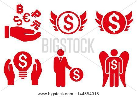 Angel Investor vector icons. Pictogram style is red flat icons with rounded angles on a white background.