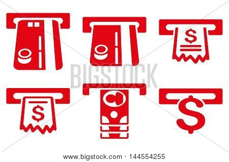 ATM Slot vector icons. Pictogram style is red flat icons with rounded angles on a white background.