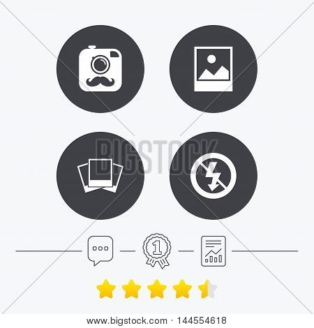 Hipster retro photo camera with mustache icon. No flash light symbol. Landscape photo frame. Chat, award medal and report linear icons. Star vote ranking. Vector