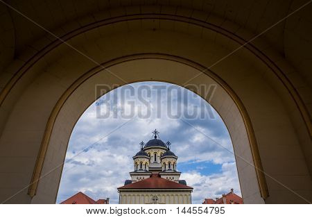 Coronation Cathedral deticated to Holy Trinity in Citadel of Alba Iulia city in Romania