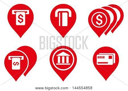 Banking ATM Pointers vector icons. Pictogram style is red flat icons with rounded angles on a white background.