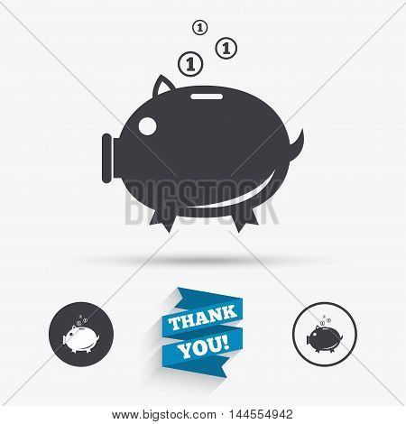 Piggy bank sign icon. Moneybox symbol. Flat icons. Buttons with icons. Thank you ribbon. Vector