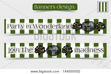 Banners Party in Wonderland - Tree from Forest or Garden. Vector Illustration for Graphic Projects, Parties, Web, Scrapbooking.