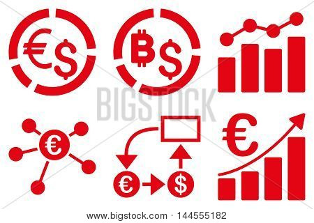 Business Charts vector icons. Pictogram style is red flat icons with rounded angles on a white background.