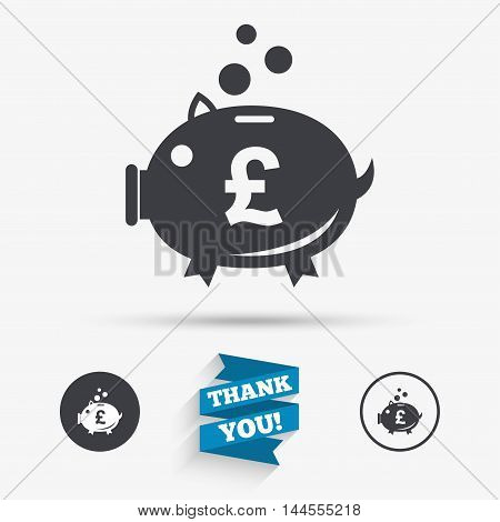 Piggy bank sign icon. Moneybox pound symbol. Flat icons. Buttons with icons. Thank you ribbon. Vector