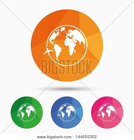 Airplane sign icon. Travel trip round the world symbol. Triangular low poly button with flat icon. Vector